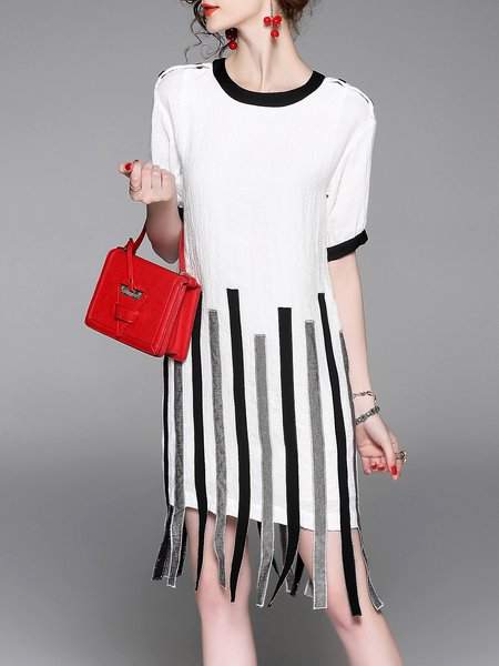 White Casual Paneled Rayon Midi Dress