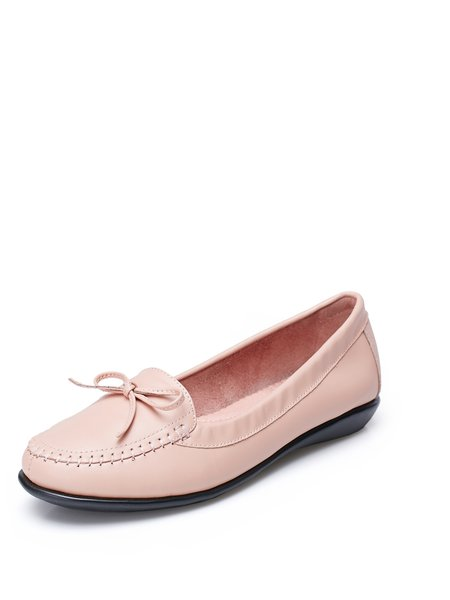 Pink Bowknot  Leather Comfort Casual Flats