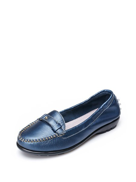 Blue Flat Heel Buckle Casual Leather Loafers