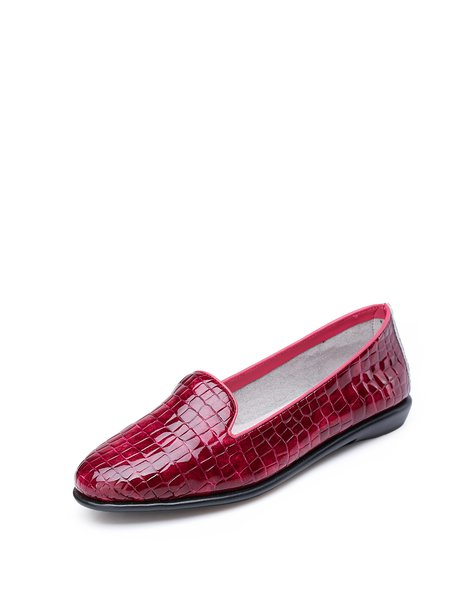 Burgundy  Leather Flat Heel  Loafers
