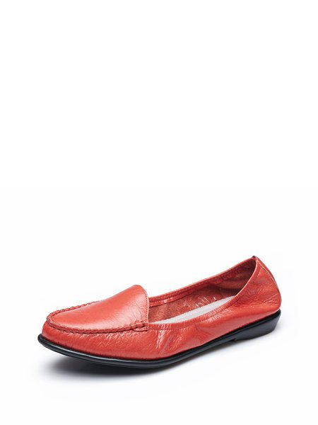Red Flat Heel  Leather Loafers