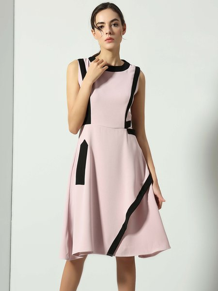 Casual A-line Color-block Sleeveless Crew Neck Midi Dress