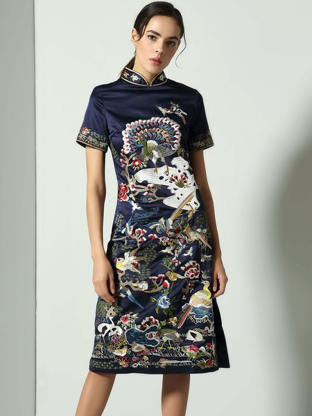 Navy Blue Embroidered Stand Collar Vintage Midi Dress