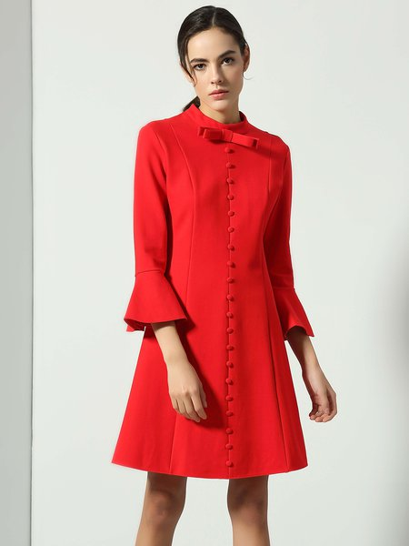 Red Buttoned Stand Collar Flared Sleeve Mini Dress