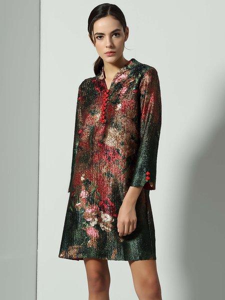 Appliqued Vintage 3/4 Sleeve A-line V Neck Mini Dress
