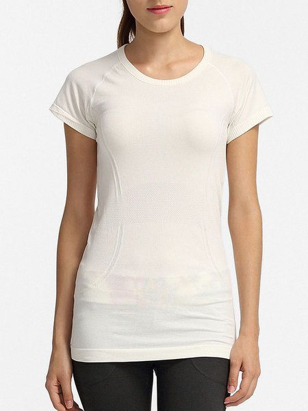 White Solid Quick Dry Sports T-shirt