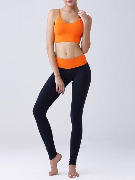 Orange Two Piece Quick Dry Bra with Leggings
