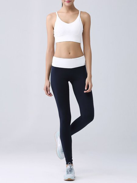 White Two Piece Breathable Sports Bra with Leggings