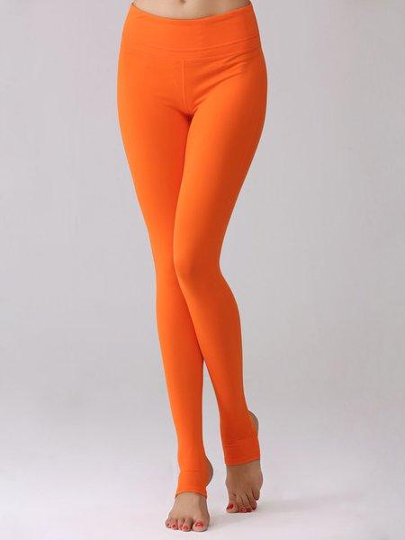 Orange Solid Quick Dry Sports Leggings