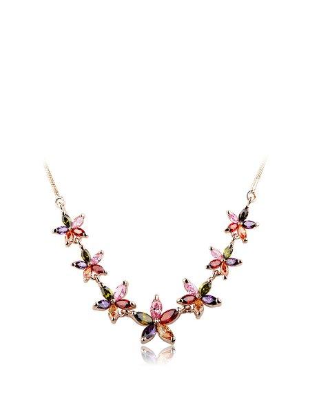 Multicolor Zircon Alloy Flower Necklace