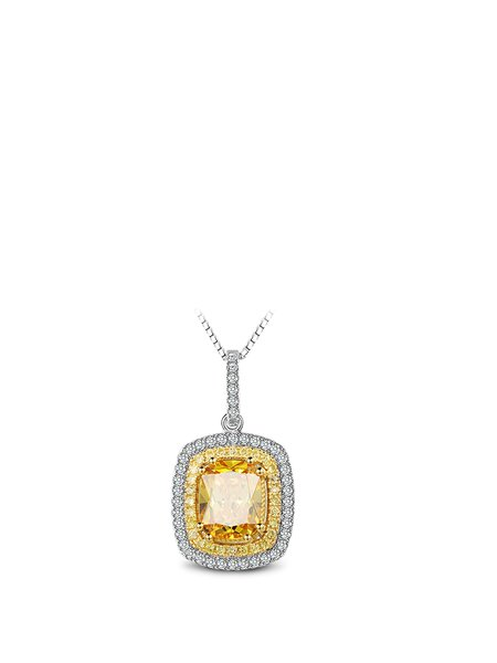 Zircon 925 Sterling Silver Square Necklace