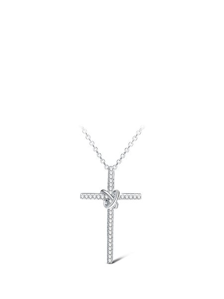 Silver Flower Zircon Necklace