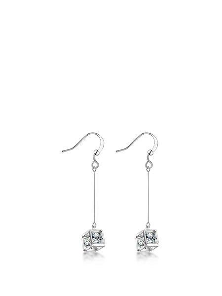 Alloy Zircon Square Earrings