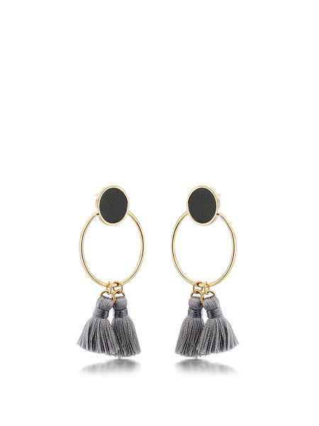 Gold-Color Round Tassel Synthetic Materials Earrings