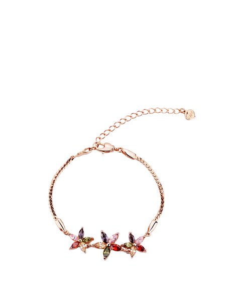 Multicolor Alloy Flower Rhinestone Bracelet