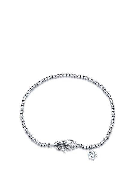 Silver 925 Sterling  Leaf Cubic Zirconia Bracelet