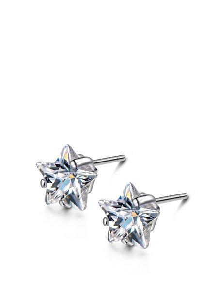 Star Zircon 925 Sterling Silver Earrings