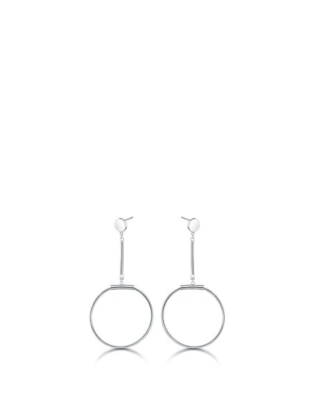 Silver Round Titanium Steel Earrings