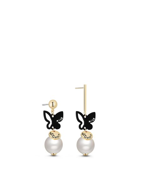 Gold-Color Titanium Steel Butterfly Earrings