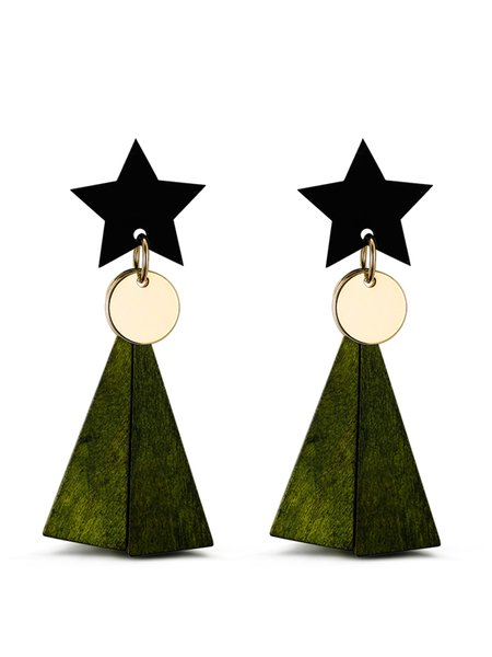 Olive Green Synthetic Materials Star Earring