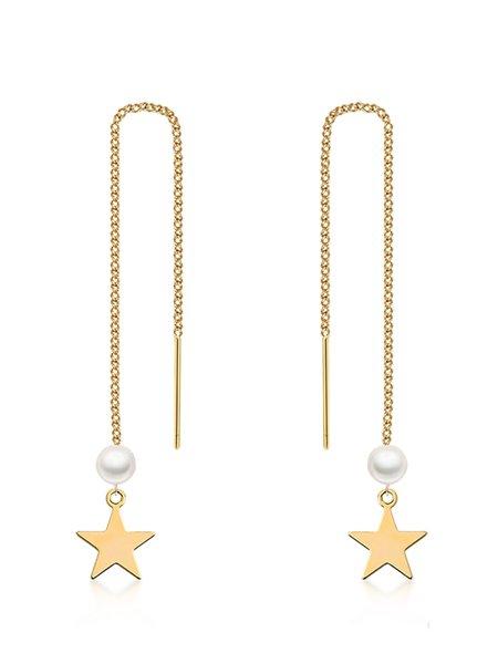 Star Imitation Pearl 925 Sterling Silver Earrings