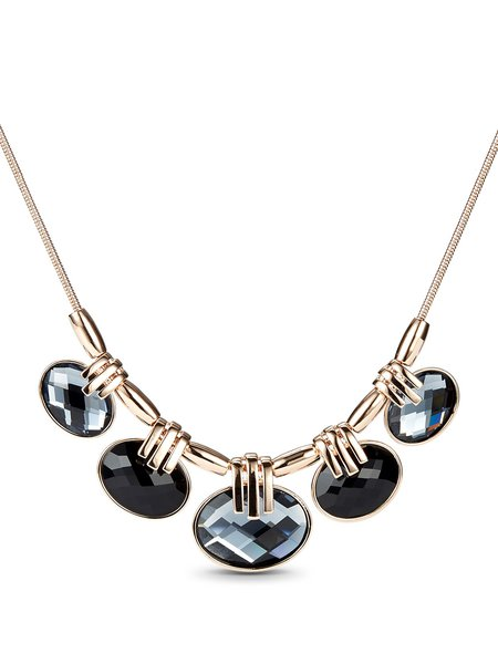 Titanium Steel Glass Round Necklace