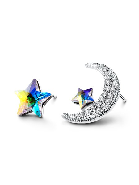 Multicolor Zircon Star and Moon Earrings