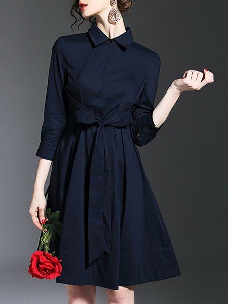 Simple Shirt Collar Solid Midi Dress