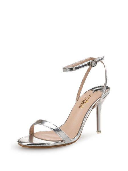 Silver Summer Stiletto Heel PU Sandals