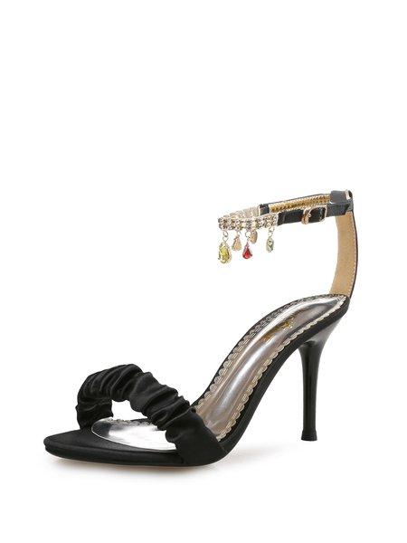 Black Tassel Stiletto Heel Sandals