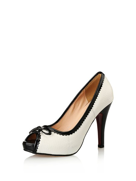 White Dress Stiletto Heel Peep Toe Heels