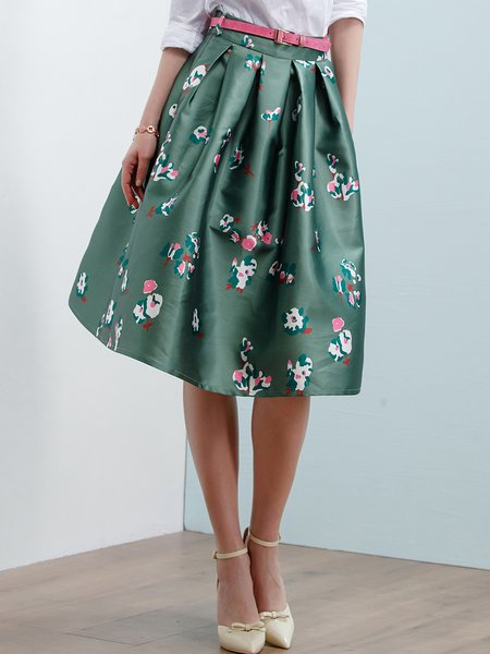 Green Casual A-line Floral-print Midi Skirt