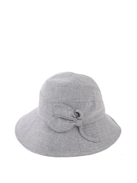 Casual Cotton Linen Bow Solid Hat