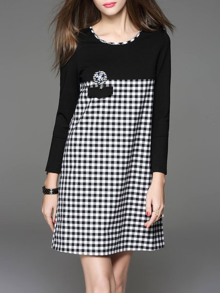Black Printed Casual Crew Neck Mini Dress