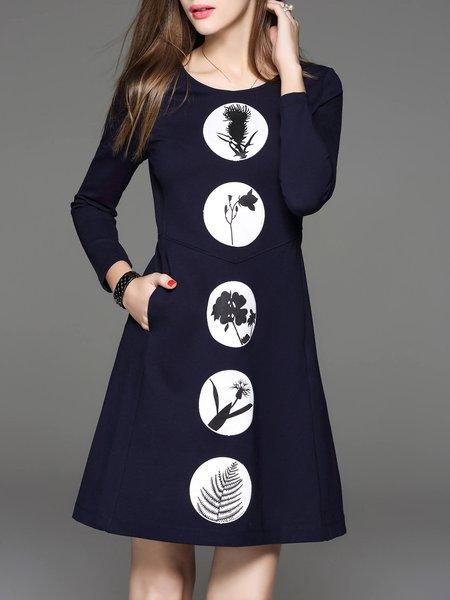 Dark Blue Appliqued Cotton-blend Crew Neck Long Sleeve Midi Dress