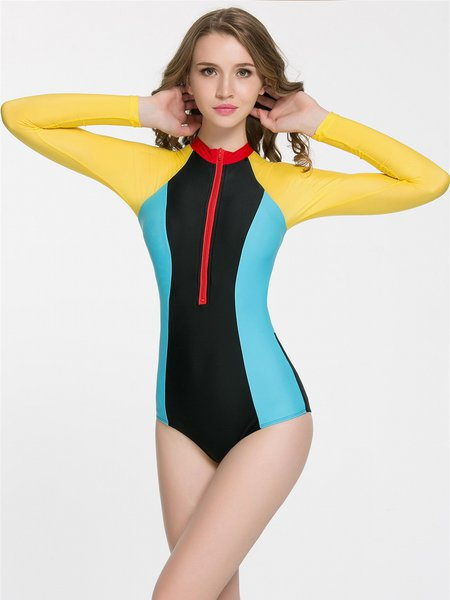 Multicolor Sports Color Block Cut-out One-Piece