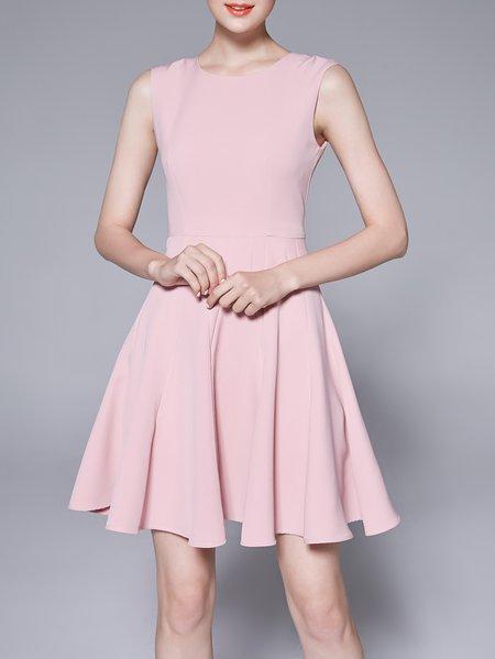Solid Simple Folds Sleeveless Crew Neck Midi Dress