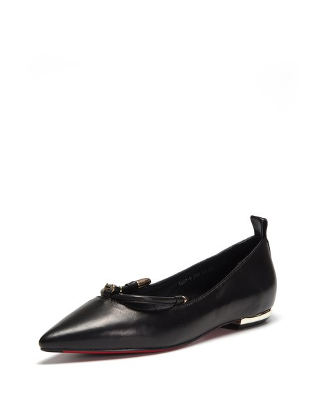 Black Leather Casual Flat Heel Pointed Toe Flats