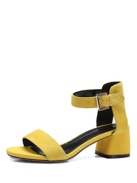 Yellow Summer Suede Dress Chunky Heel Sandals