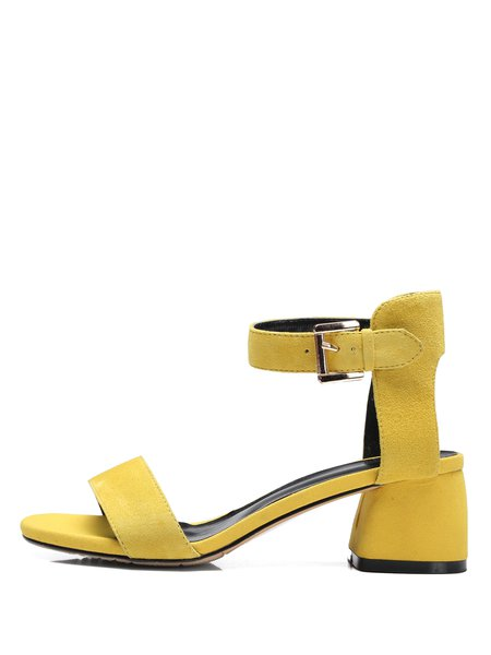 Yellow Summer Suede Dress Chunky Heel Sandals - StyleWe.com