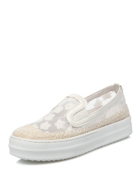 White Mesh Paneled Leather Platform Casual Sneakers