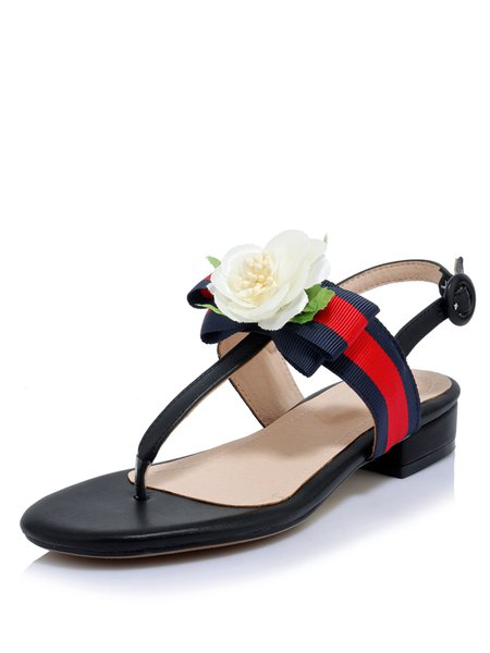 Black Low Heel Leather Casual Sandals