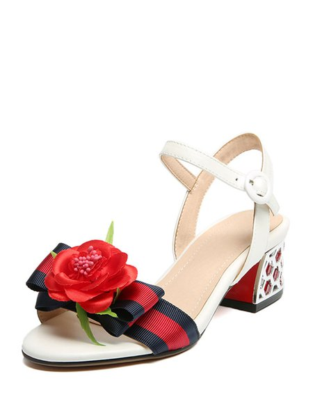 White Bowknot Leather Dress Chunky Heel Sandals