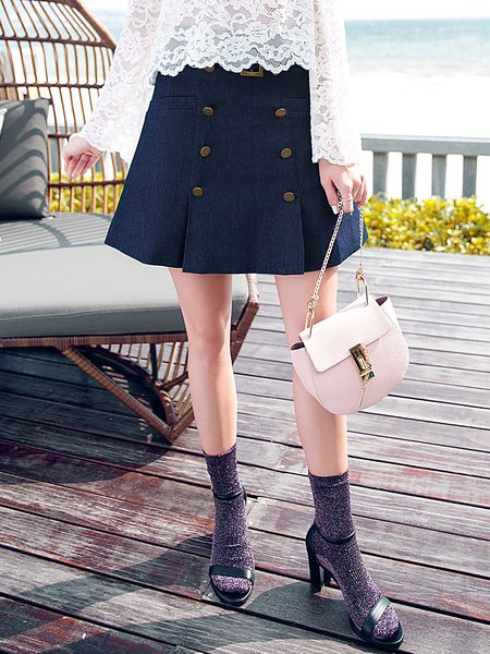 Dark Blue Simple Solid A-line Mini Skirt with Belt