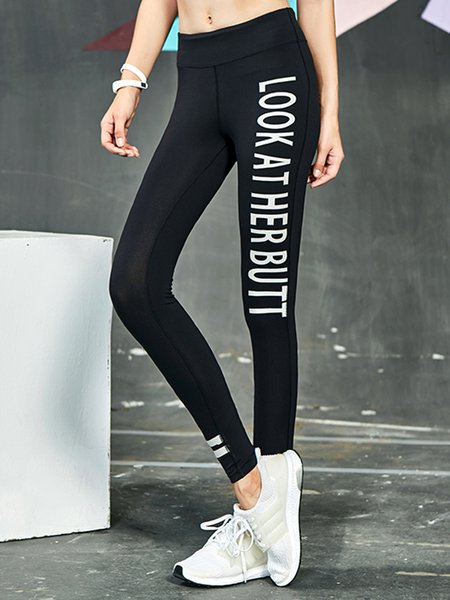 Black Letter Print Bottom Leggings
