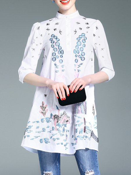 White Half Sleeve Stand Collar Tunic