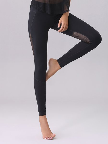 Black Breathable Paneled Stretchy Leggings