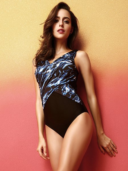 Black Ruched Padded Printed One-Pieces&Tankini