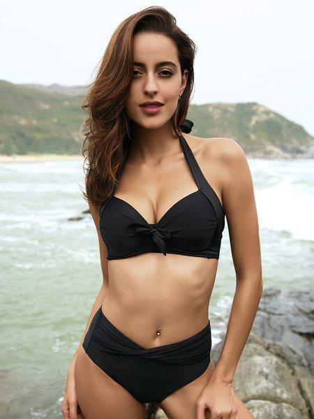 Black Halter Padded Ruched Bikini