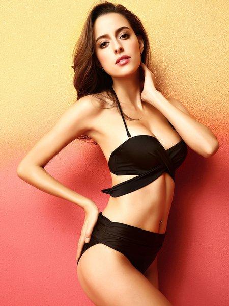 Black Solid Ruched Bikini
